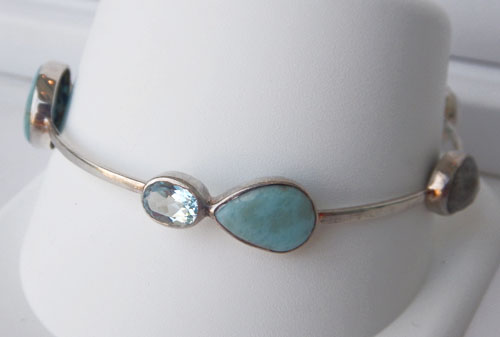 sterling silver blue gemstone bracelet