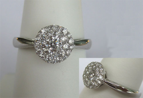 white gold diamond cluster ring
