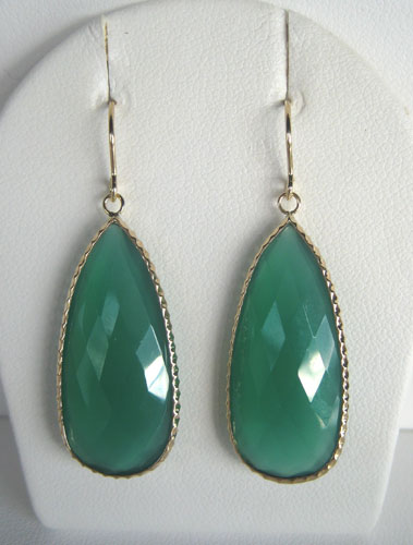 yellow gold green chalcedony dangle earrings