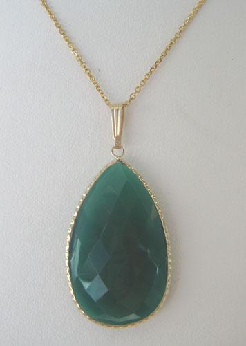 yellow gold green chalcedony pendant