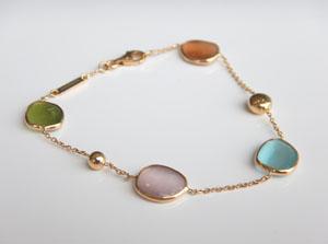 yellow gold multicolored gemstone bracelet