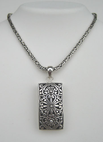 sterling silver floral motif pendant