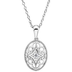 sterling silver diamond filigree pendant