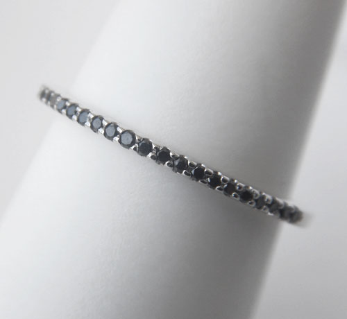 black diamond band in white gold