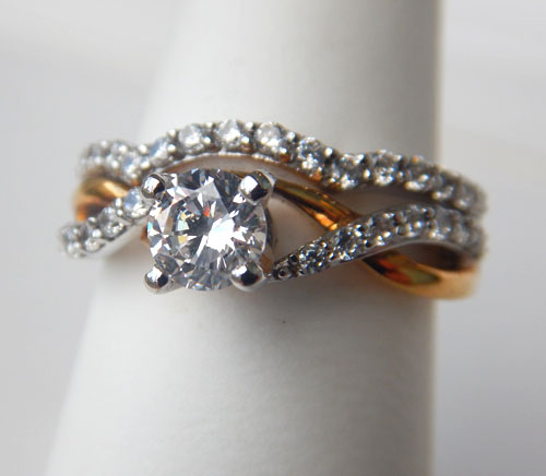 two tone gold diamond twist engagement ring with matching wedding band