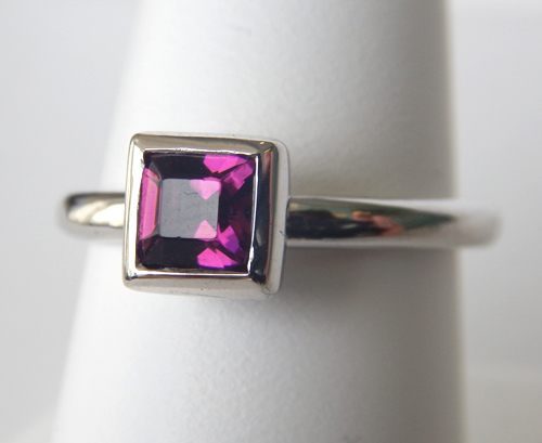 sterling silver purple gemstone ring