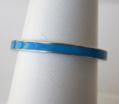 sterling silver blue enameled band
