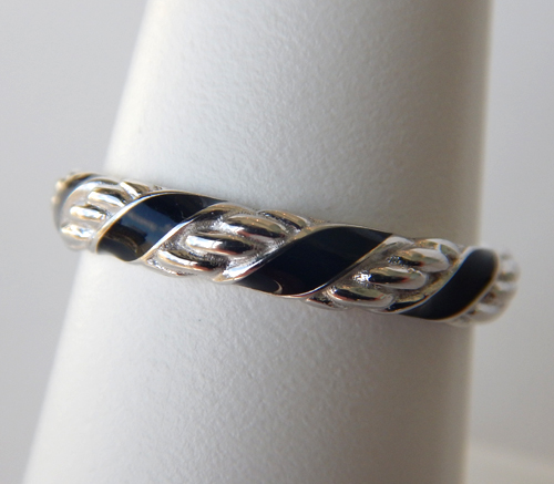 sterling silver black enameled twisted band