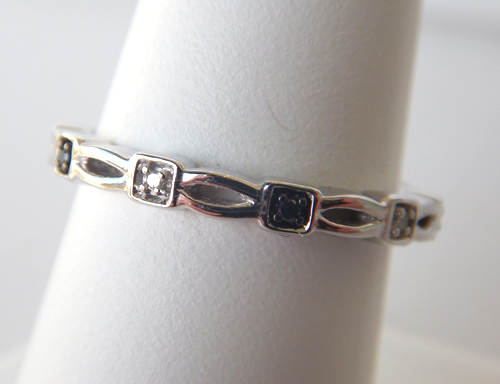 sterling silver black and colorless diamond band