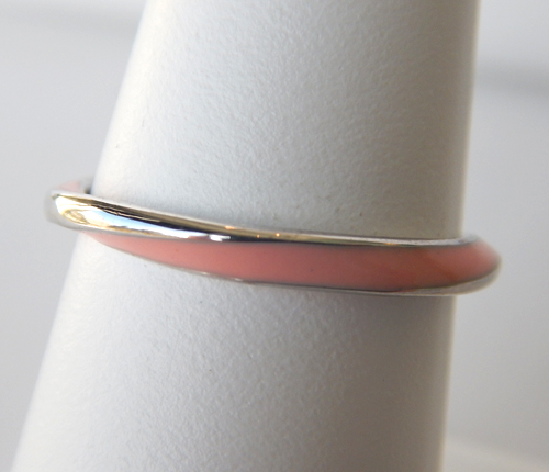 sterling silver pink enameled ring