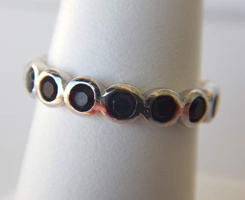 sterling silver dark red gemstone band