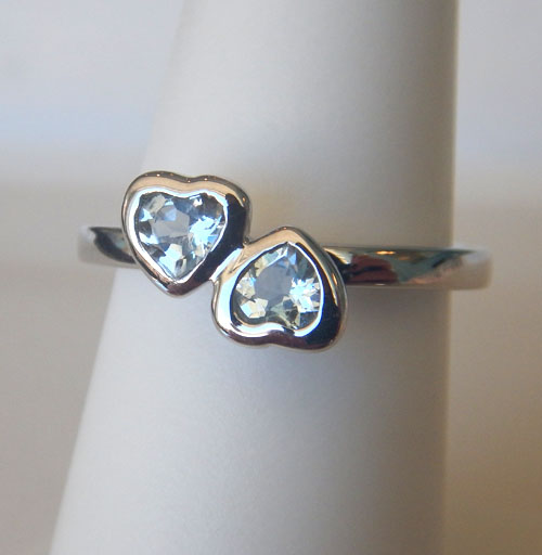 sterling silver aquamarine heart ring