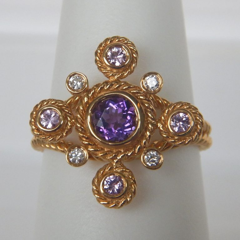 yellow gold amethyst and diamond ring