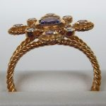 side view of yellow gold amethyst ring