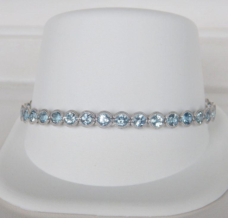 white gold aquamarine bracelet