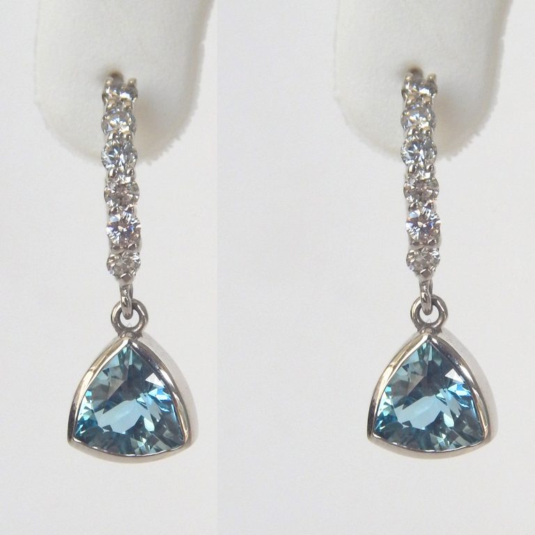 white gold aquamarine and diamond dangle earrings
