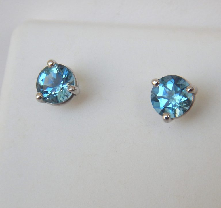 white gold aquamarine studs
