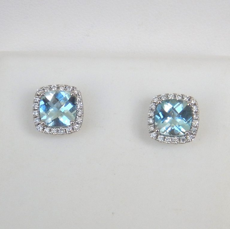 white gold aquamarine and diamond halo earrings