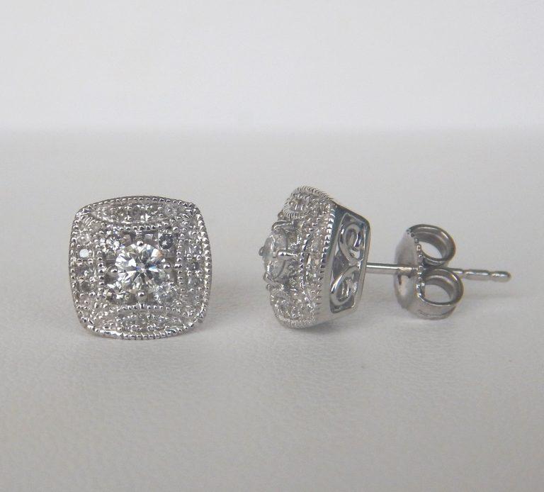 white gold art deco diamond earrings