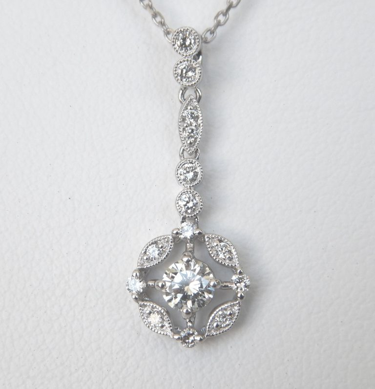 white gold art deco diamond drop pendant