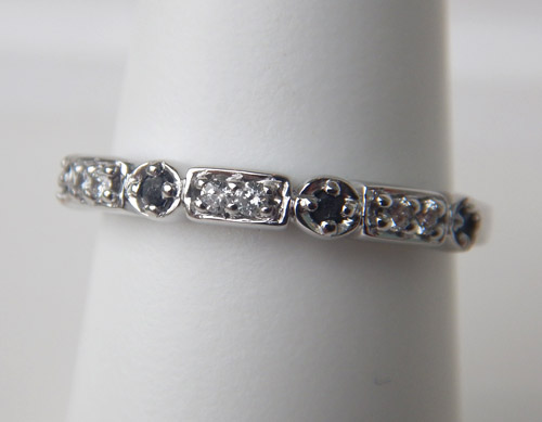 black and colorless diamond band
