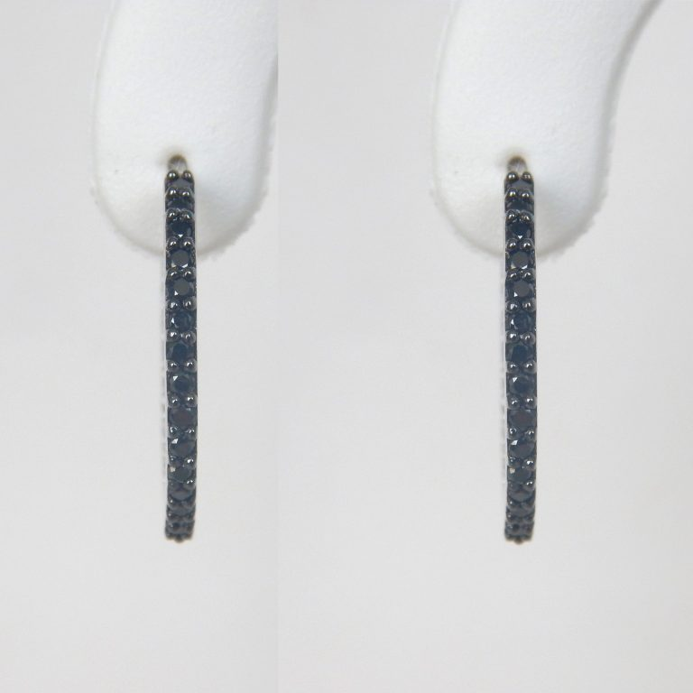 black diamond hoop earrings in white gold