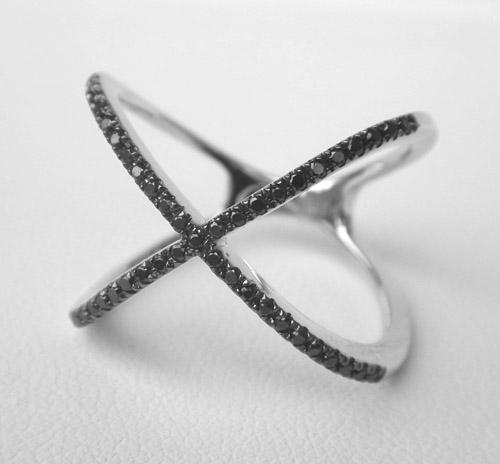 white gold black diamond fashion x ring