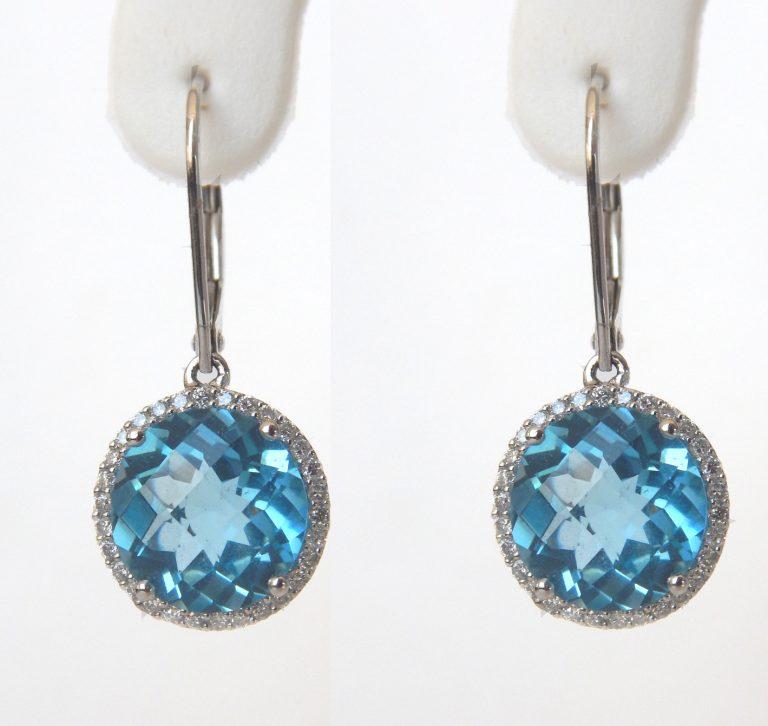 blue topaz and diamond earrings in white gold setting