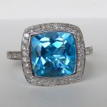 blue topaz and diamond halo ring white gold