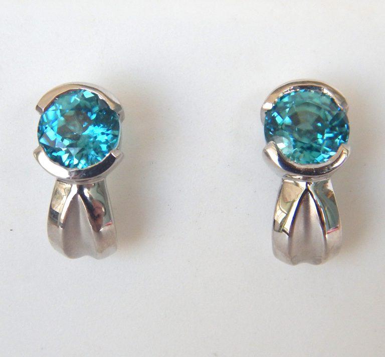 white gold blue zircon earrings