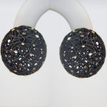 black sterling silver button earrings