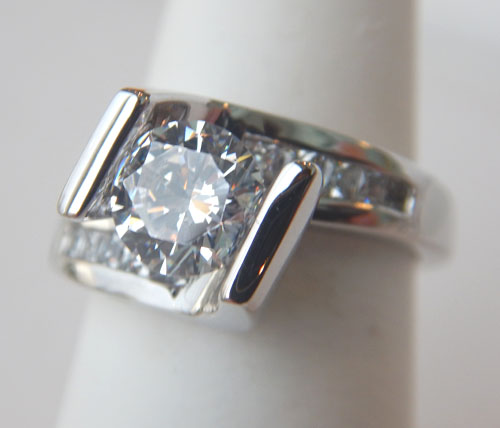 channel set box engagement ring