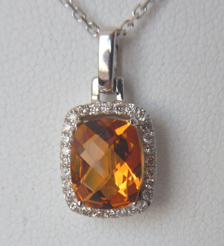 white gold citrine and diamond halo pendant