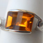 white gold citrine ring with diamond accents