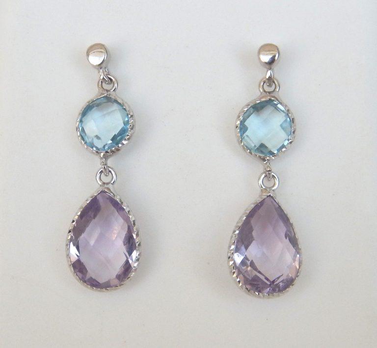 blue topaz and amethyst dangle earrings