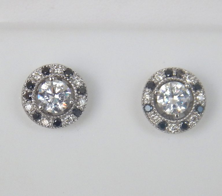 white gold black and colorless diamond earring jackets