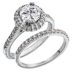 diamond halo engagement ring with matching wedding band