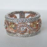 three tone gold diamond cluster ring