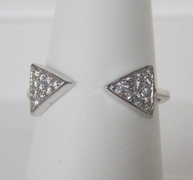 open shank diamond ring in white gold