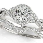 split shank diamond engagement ring with matching wedding band