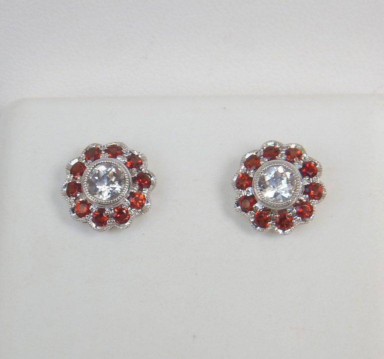 white sapphire and garnet stud earrings