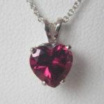 white gold garnet heart pendant