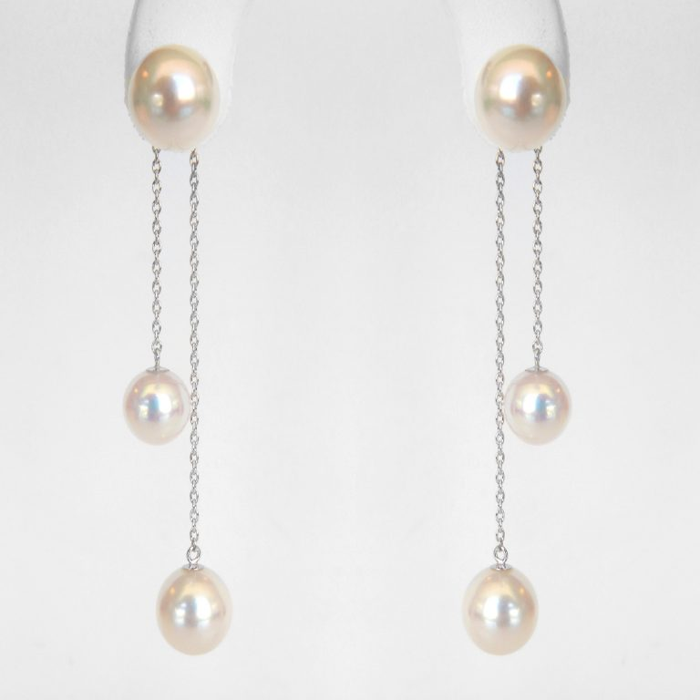pearl dangle earrings in white gold