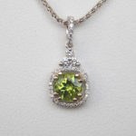 white gold peridot and diamond pendant