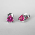 white gold pink tourmaline studs