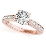rose gold channel set diamond engagement ring