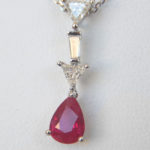 ruby and diamond pendant in white gold setting