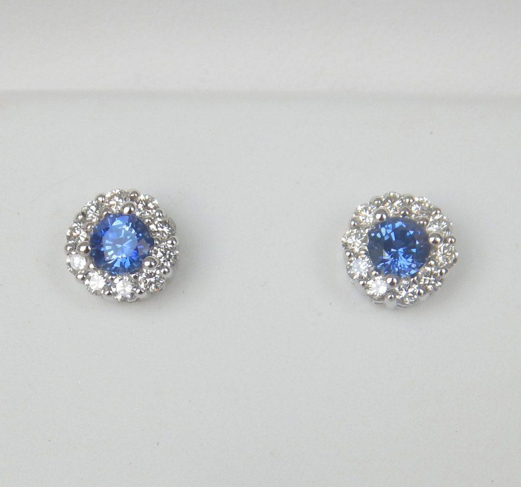 Sapphire And Diamond Stud Earrings Kloiber Jewelers