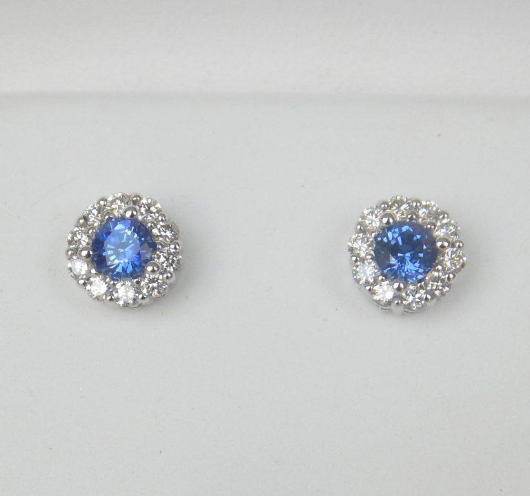 sapphire and diamond stud earrings
