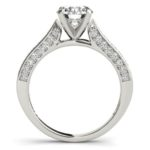 side view of channel set diamond engagement ring